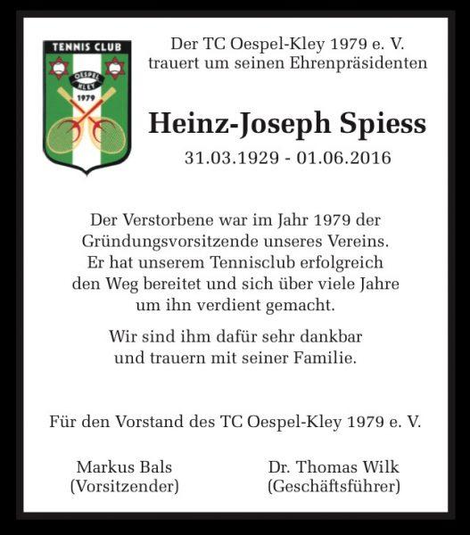 Todesanzeige Heinz Spiess